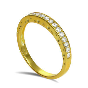 Gold-Plated-Sterling-Silver-CZ-Crystal-Half-Eternity-Ring-Size-I-U