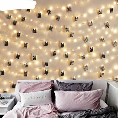 LED String Lights 2M//5M//10M Photo Clip  Fairy Lights Battery Operated Decoration