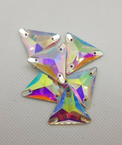 22mm Aufnähsteine Glas Strass zum Aufnähen Dreieck Crystal AB 16mm