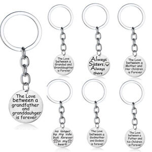 Details about Pendant Keychain Gifts For Sister Mum Mother Father Son  Daughter Dad Keyring New
