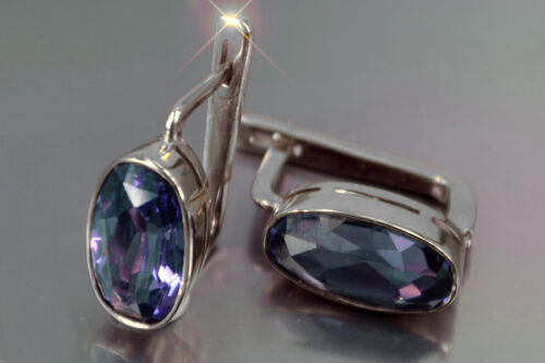 ve001s Russian Soviet Corundum Alexandrite & other color stones silver earrings!