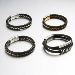New-Mens-Handmade-Leather-Braided-Surfer-Wristband-Bracelet-Bangle-Wrap-Jewelry