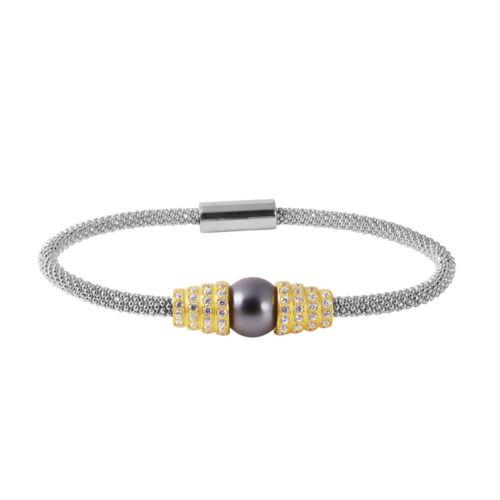 925 STERLING SILVER LADIES ITALIAN BRACELET W// BLACK PEARL /& DIAMOND ACCENTS