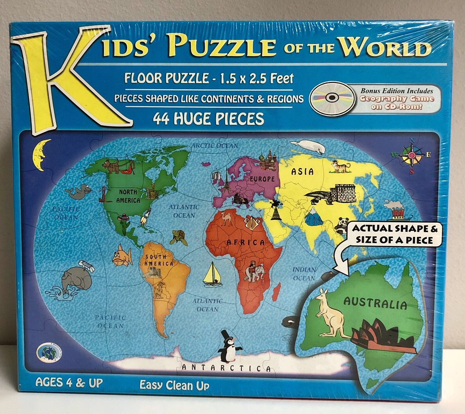 Discovery Kids Puzzle Of The World Floor 44 Jumbo Pieces New