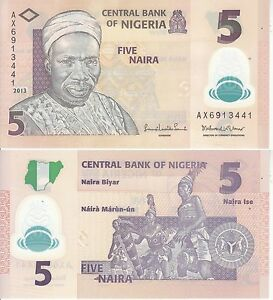 NIGERIA 5 NAIRA 2013 POLYMER FDS UNC