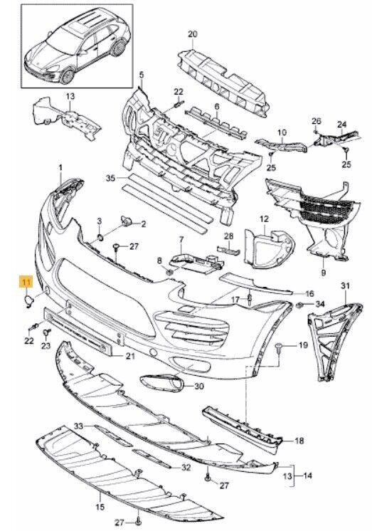 Neu Original Original Original Porsche Cayenne 11-18 Vorne Stoßstange Anhängerkupplung Öse d6f9fc