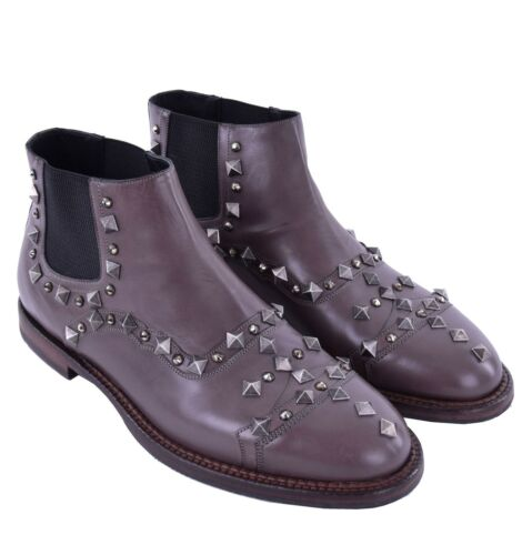 DOLCE /& GABBANA RUNWAY Ankle Boots with Studs /& Strass Grey Brown 04868