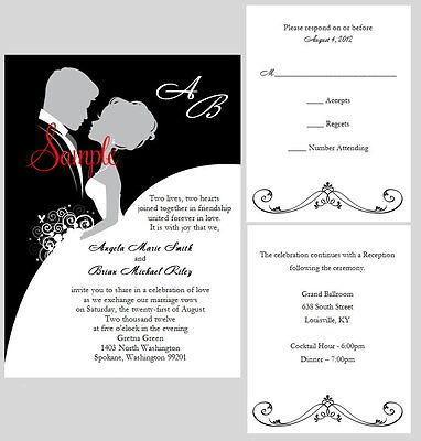 70 Personalized Custom Elegant Bride and Groom Bridal Wedding Invitations Set
