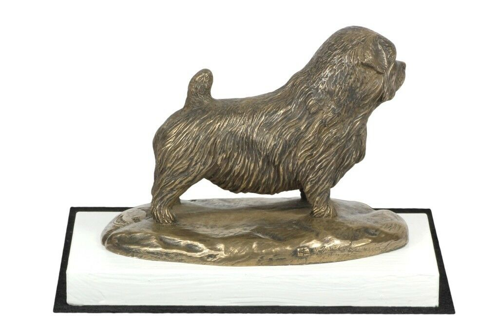 Norfolk Terrier - figurina con un cane su una base di Holz Weiß, Kunst Hund IT