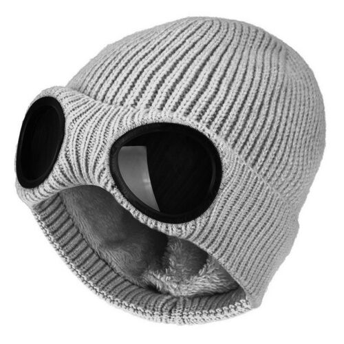 Fashion Men Women Goggle Beanie Knitted Woolly Winter Chunky Beany Hat Caps SF