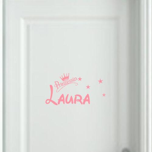 Wandtattoo AA005 Kinderzimmer Wunschnamen Prinzessin Namen Aufkleber  Türschild