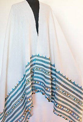 Handwoven Shawl Large Wool Stole Hand Loomed in Kutch India White Turquoise