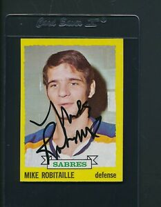 1973/74 Topps #121 Mike Robitaille Sabres Signed Auto *B1931