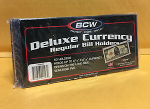 100-REGULAR-BCW-DELUXE-PVC-CURRENCY-SLEEVE-BILL-HOLDERS-PAPER-MONEY-SEMI-RIGID