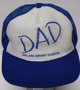 Vintage 1990s DOLLARS AGAINST DIABETES DAD Advertising SNAPBACK TRUCKER HAT CAP
