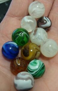 12-Old-Vintage-Glass-Marbles-All-Gently-Used-Slag-Glass-White-Purple-Blue