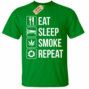 Eat-Sleep-Fumo-Ripetere-T-Shirt-Erba-Alto-Cannabis-Drogato-Regalo-Uomo