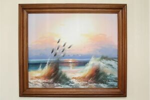 Original-Oil-on-Canvas-Painting-Beach-Landscape-29-034-x-25-034-Framed-amp-Signed