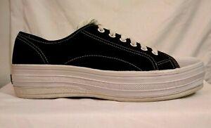 Women-039-s-KEDS-WF9131M-Black-Canvas-Platform-Kick-Sneakers-Sz-9-f368