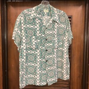 Vintage-1950-039-s-034-guymont-034-Atomic-Muster-Rayon-Hawaii-Rockabilly-Shirt-M