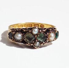 Fine Antique Victorian 15ct Gold Emerald & Pearl set Ring c1872; UK Size 'K 1/2'
