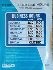 Headline Open Closed Business Hours Sign 9573 Store Window 9x1075 Static Cling
