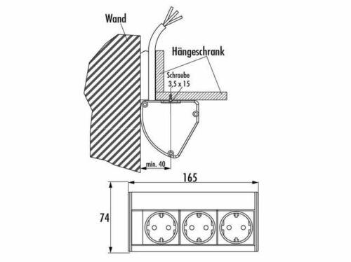 EVOline 3-fach Steckdose Küche Steckdosen Einbau Oberschrank Steckdosenleiste