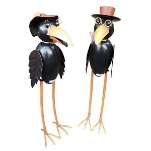 Metal-Mr-And-Mrs-Garden-Raven-Birds-Garden-Gift-Ornament-Bird-Scare-Mr-amp-Mrs
