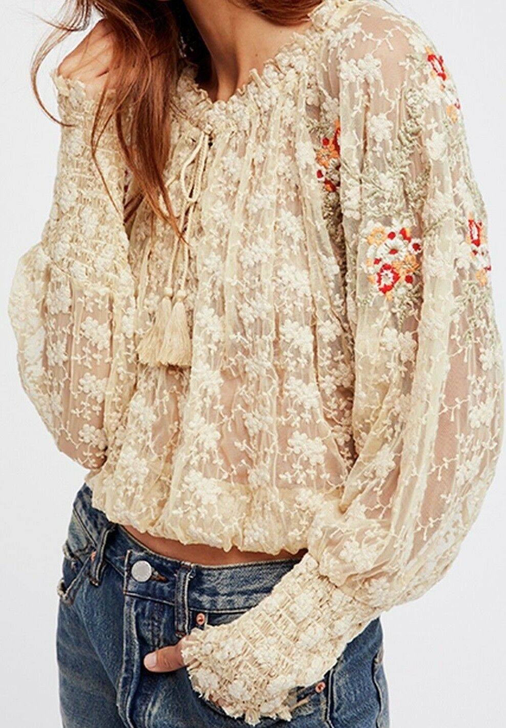 NWT FREE PEOPLE SzS JUBILEE MESH EMBROIDErot LONG SLEEVE BLOUSE IVORY