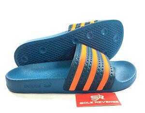 eaeb7f4ce New Adidas ADILETTE Slides Sandals Mens Blue Orange Beach Flip Flops ...
