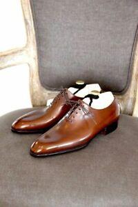 Zapatos-De-Vestir-hecho-a-mano-para-hombre-Plain-Toe-Oxford-Corte-Entero-Para-Hombres-Cuero-Marron
