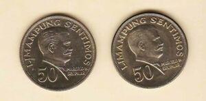 Philippines-50-centavos-Marcelo-Del-Pilar-1971-1967-2-coins-Toned-Unc