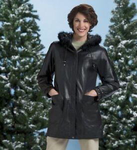 Angelina Taille Seventh Noire Femmes Stadium New Avenue Large Lambskin Jacket w8xI5t