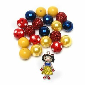 DIY Rhinestone Snow White red blue yellow kit beads chunky bubblegum necklace
