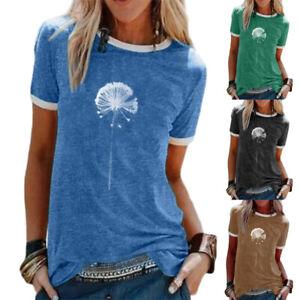 Womens-Sweatshirt-Dandelion-Ladies-Short-Sleeve-T-Shirt-Blouse-Tee-Casual-Tops