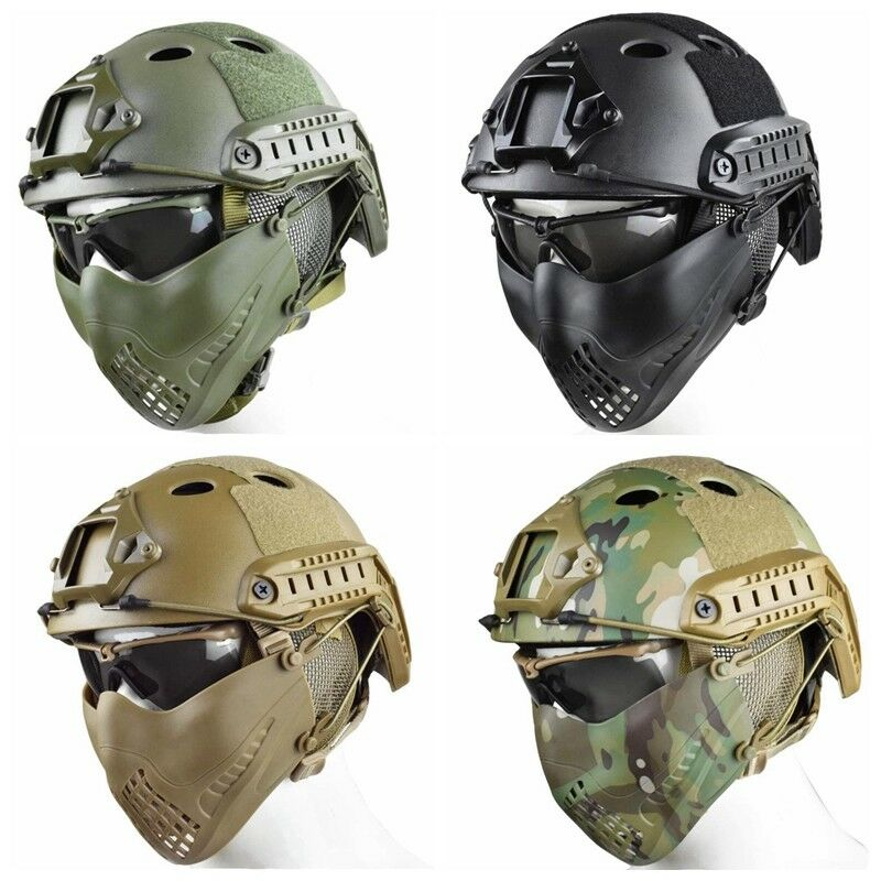 Fast Base Jump Military Helmet Combined  with Two wear Methods Half Face Mask  save 60% discount