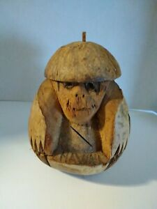Monkey piggy bank Vintage Hawaiian souvenir. Hand carved coconut monkey Folk art figure Coconut carving monkey bank