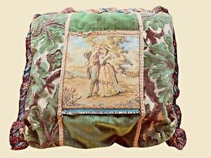 LARGE-VINTAGE-TAPESTRY-PILLOW-SCENE-OF-TWO-LOVERS-IN-GARDEN