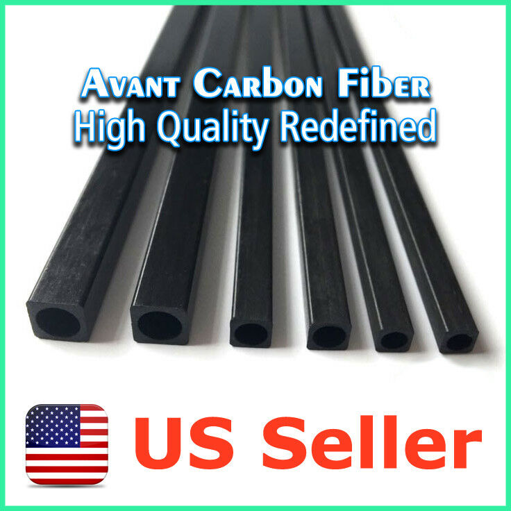 6pcs 6 x 6 6 6 x 4 x 1000 mm Carbon Fiber Square Tube Pipe w  4mm Round Hole 381666