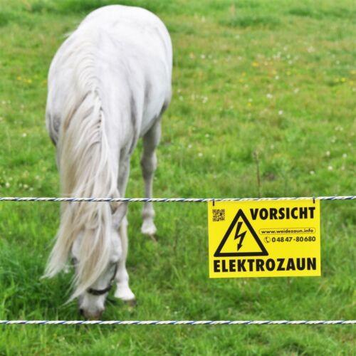 400 Meter Litze grün Verbinder /& Warnschild Weidezaunlitze für Elektrozaun
