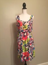 ALICE OLIVIA Women's ROI Floral Dress L Silk Chiffon Scoop Neck High Waist