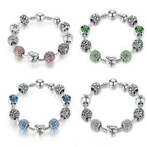Christmas-Women-925-Silver-Charm-Bangles-With-Pink-amp-Blue-Crystals-Charms-Bead
