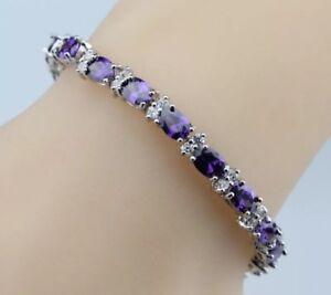 Purple-Amethyst-Stones-Flanked-White-Topaz-925-Sterling-Silver-Tennis-Bracelet