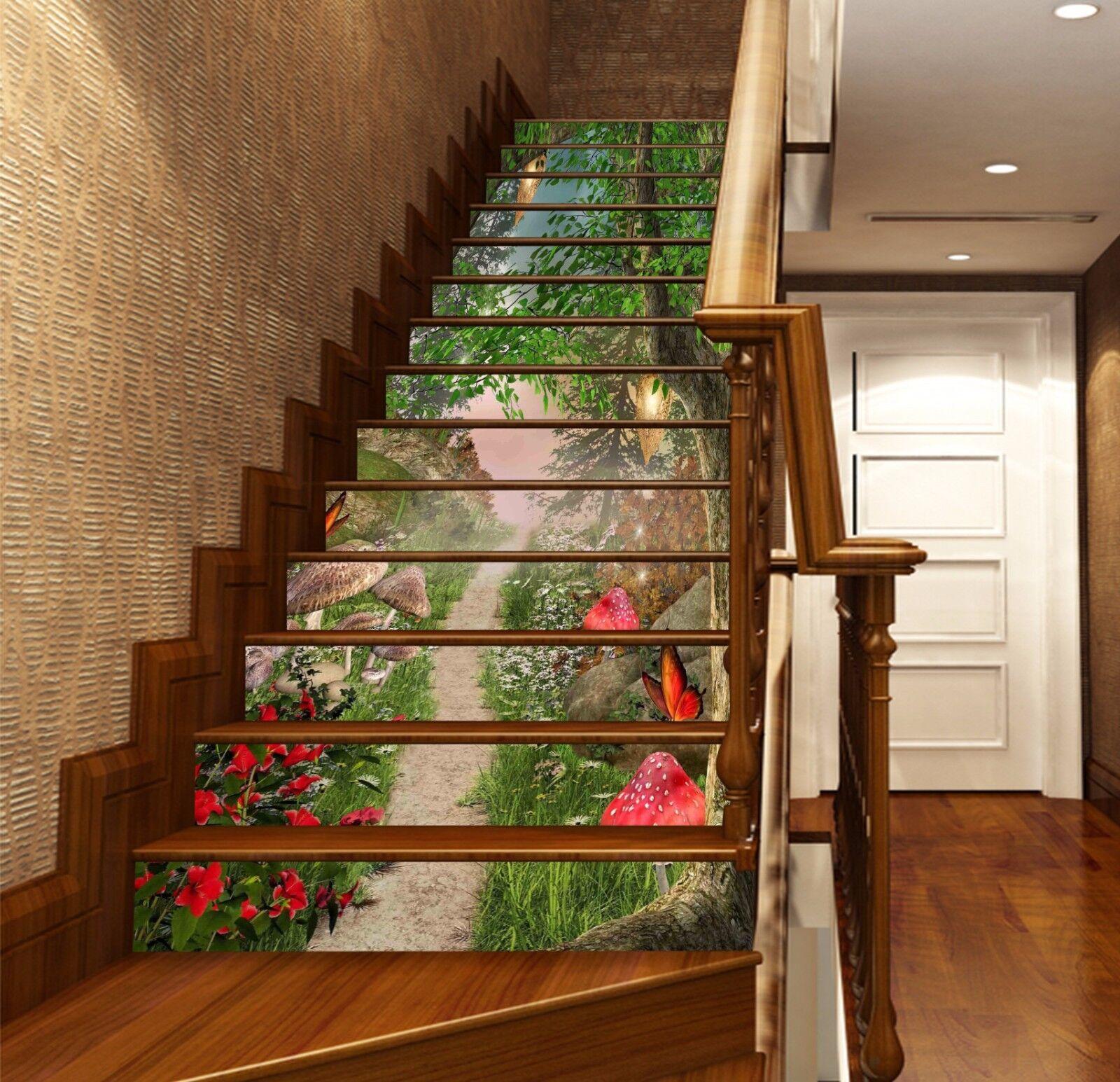 3D Pilz Wald 798 Stair Risers Dekoration Fototapete Vinyl Aufkleber Tapete DE