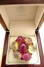 CABOCHON RUBY PREHNITE ROSE QUARTZ GOLD 925 SILVER DESIGNER STATEMENT RING SZ N