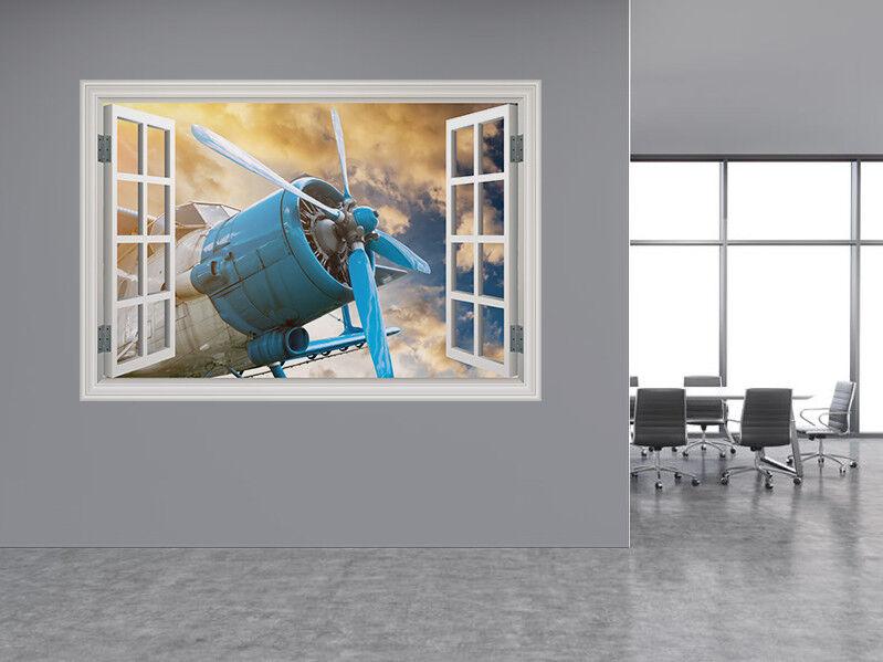 Aereo con Elica Foto Finestra Adesivo da Parete Murale (76477212ww)