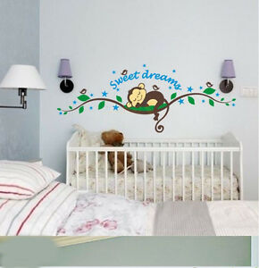 Image Is Loading Cheeky Monkey Sweet Dream Removable Wall Stickers Decal  Part 22