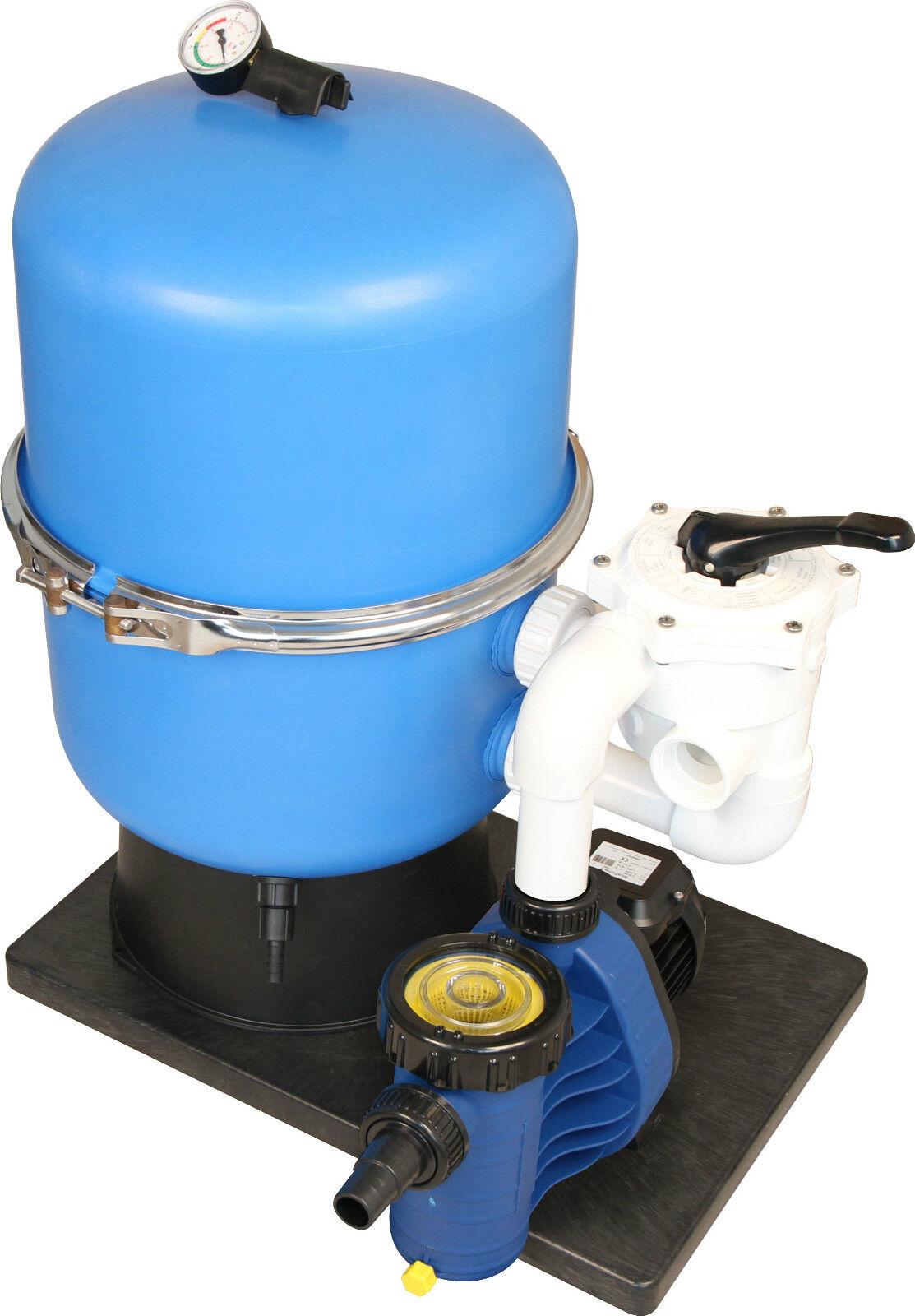 Sandfilteranlage Zirkel Side 400mm mit 6 Wege Paher Ventil und Blau Pump