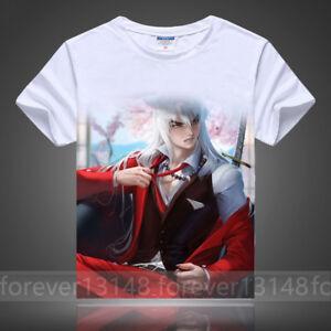 Summer-Anime-InuYasha-Pullover-Cosplay-Unisex-White-T-shirt-Short-Sleeve-TEE