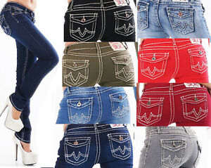 Jeans Ladies Skinny Jeans Flap Pocket Thick Seams Jeans Trousers
